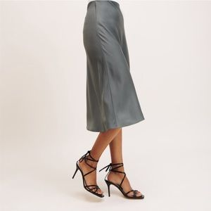 Dynamite Forest Green Satin Slip Skirt